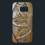 "Faux Wood Sunflower Photo Print Samsung Galaxy S7<br><div class=""desc"">Wooden Sunflower – &#169; Sunny Mars Designs.  Beautiful,  stylish,  unique,  classy,  elegant slim Case-Mate Barely There Samsung Galaxy S6 Barely There case cover with a gorgeous,  pretty faux printed photo of a cool wooden textured sunflower design.</div>"