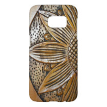 Faux Wood Sunflower Photo Print Samsung Galaxy S7