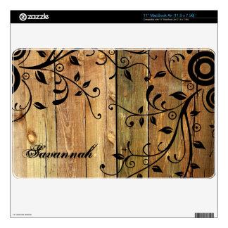 Faux Wood Swirl Leaf Personalized MacBook Air Skin