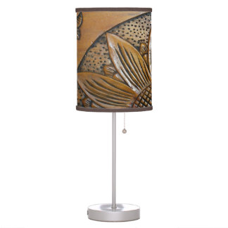 Faux Wood Texture Sunflower Photo Table Lamp