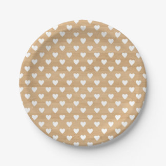Faux Wood   White Hearts Pattern Paper Plate