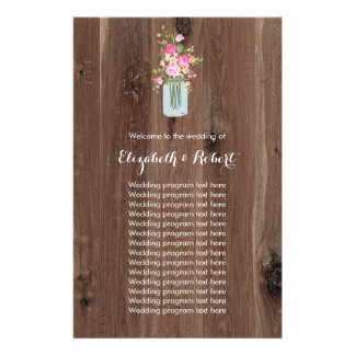 Faux Wood with Flower Mason Jar Pink Flyer