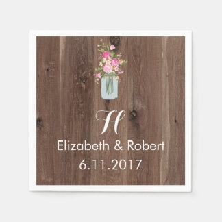 Faux Wood with Flower Mason Jar Pink Paper Napkin
