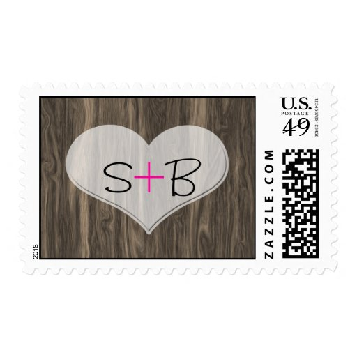 Faux Wood with Heart Engraving Postage Stamp