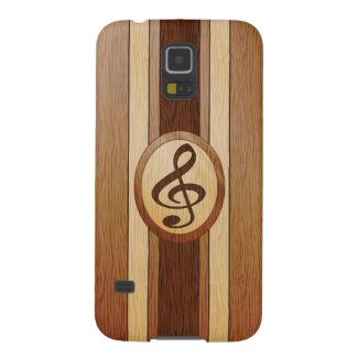 Faux wood with inlay treble clef galaxy s5 covers