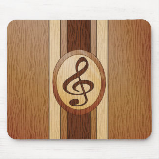 Faux wood with inlay treble clef mouse pad
