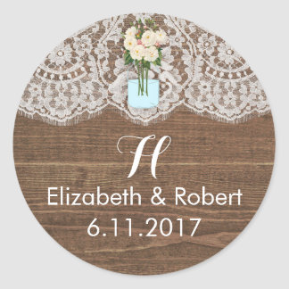 Faux Wood with Lace and Mason Jar White Classic Round Sticker