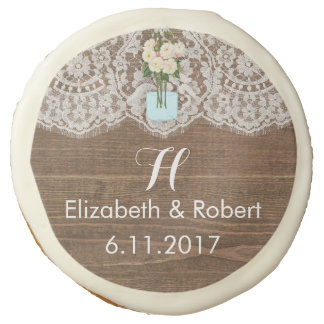 Faux Wood with Lace and Mason Jar White Sugar Cookie