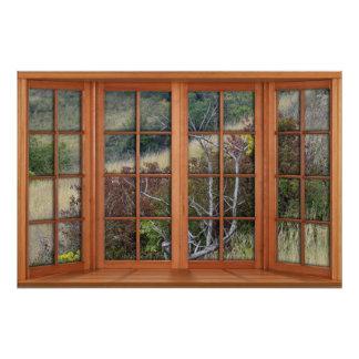 Faux Wooden Bay Window Illusion - Grassy Landscape Poster