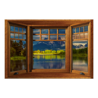Faux Wooden Bow Window Illusion - Mountain Scene Poster