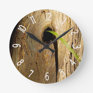 Faux Wooden Cypress Tree Knot Round Clock
