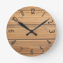 Faux Wooden Fancy Paneling Round Clock