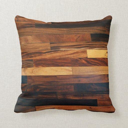 Faux Wooden Floor Slats Throw Pillows