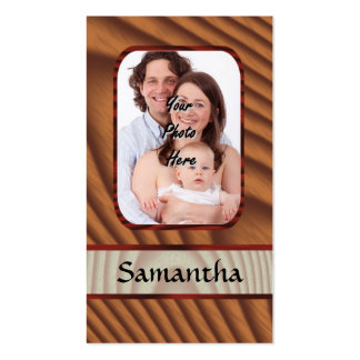 Faux wooden personalized photo business card