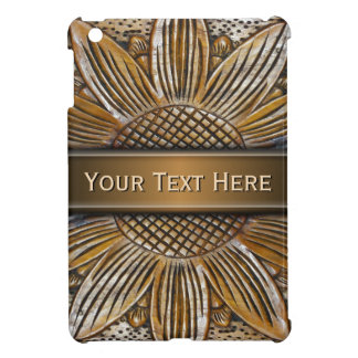 Faux Wooden Sunflower Carving Photo iPad Mini Case