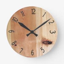Faux Wooden Yellow Pine Board Round Clock