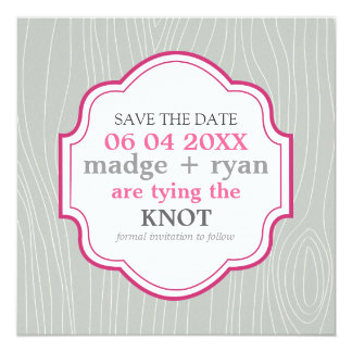 """Faux Woodgrain in Silver & Plum """"Save the Date"""" Personalized Invitations"""