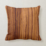Faux Zebrawood Nature Pattern Throw Pillow