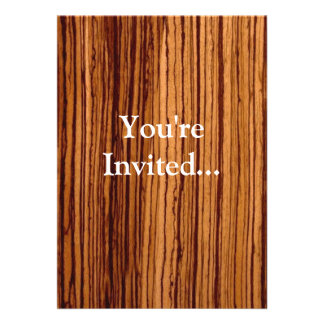 Faux Zebrawood Woodgrain Executive Custom Invite