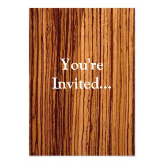 Faux Zebrawood Woodgrain Executive 5x7 Paper Invitation Card