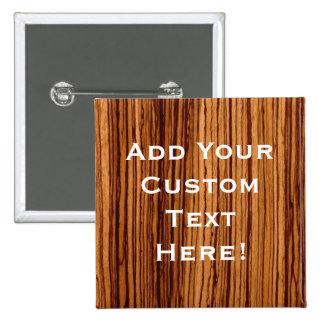 Faux Zebrawood Woodgrain Executive Pinback Button