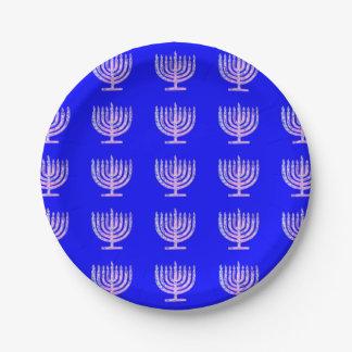 Fave de Menorah Jánuca Ben azul Plato De Papel De 7 Pulgadas
