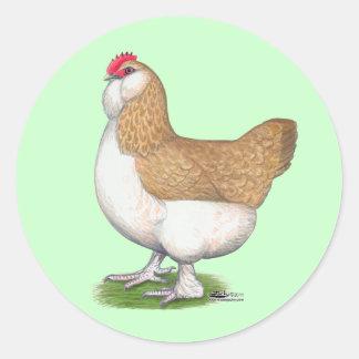 Faverolle Hen Classic Round Sticker