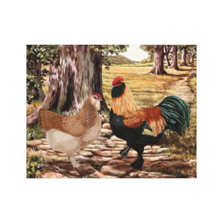 Faverolle Salmon Rooster and Hen in Wooded Setting Canvas Print
