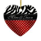 Favoloso Zebra Polka Dot Valentine Heart ornament