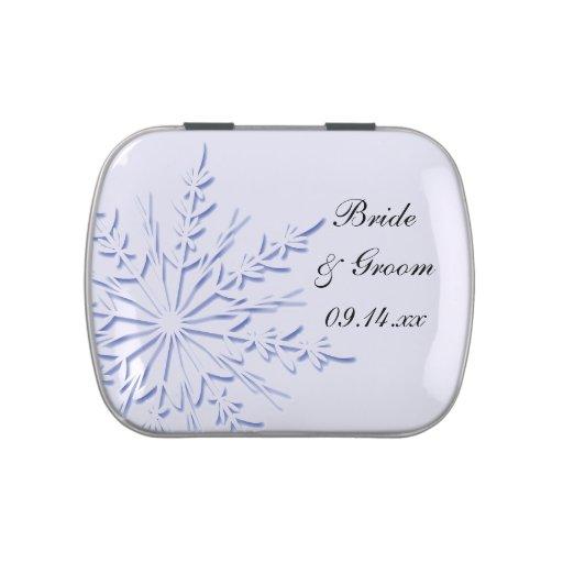 Favor azul del boda del invierno del copo de nieve latas de dulces