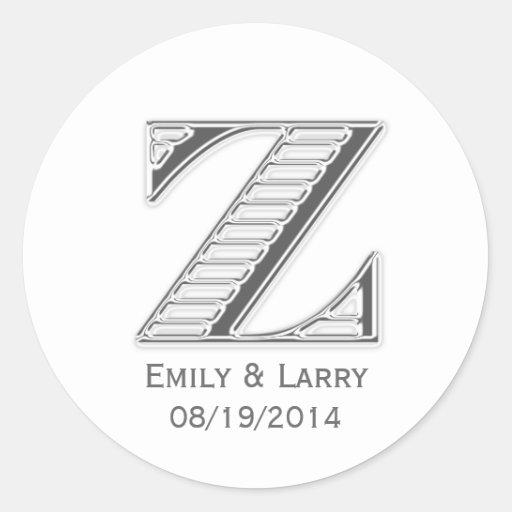 Favor blanco impreso del boda del monograma Z del Pegatina Redonda