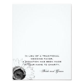 """Favor blanco y negro de la caridad del boda del invitación 4.25"""" x 5.5"""""""
