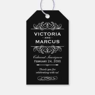 Favor blanco y negro del monograma de la botella etiquetas para regalos