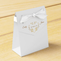 Favor Box-Fancy Gold Heart Favor Box