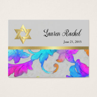 Favor Card Colorful Painted Damask Pink Turquoise
