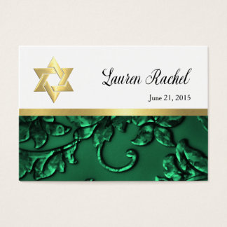 Favor Card Emerald Green Damask and Any Color