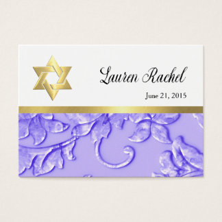 Favor Card Lavender Purple Damask with Any Color