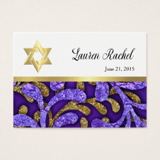 Favor Card Purple and Gold Seaweed