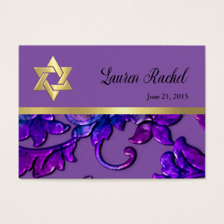 Favor Card Purple Damask with Any Color
