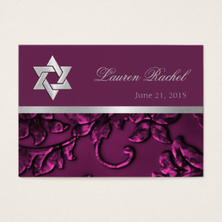 Favor Card Raspberry Pink Silver Damask