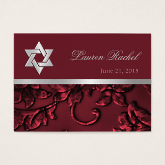 Favor Card Silver Red Damask