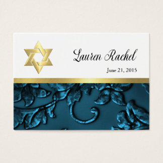 Favor Card Teal Blue Damask with Gold