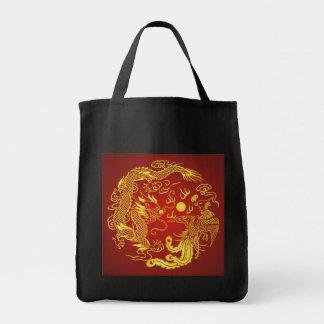 Favor chino del boda de Phoenix del dragón rojo Bolsa Tela Para La Compra