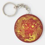 Favor chino del boda de Phoenix del dragón rojo de Llavero Personalizado