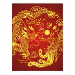 Favor chino del boda de Phoenix del dragón rojo de Tarjetas Postales