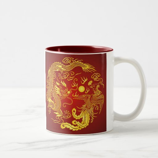 Favor chino del boda de Phoenix del dragón rojo de Taza