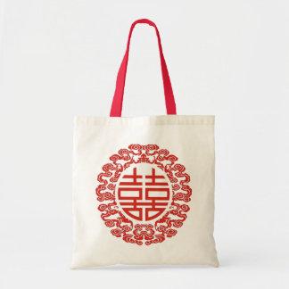 favor chino moderno del boda de la felicidad doble bolsa tela barata