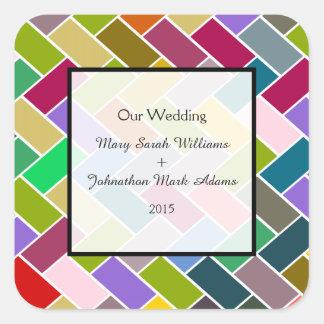 Favor colorido del boda del mosaico del modelo pegatina cuadrada