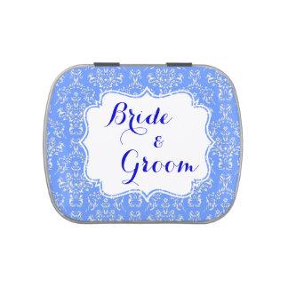 Favor de banquete de boda de encargo azul del dama jarrones de dulces