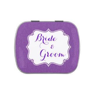 Favor de banquete de boda de encargo púrpura del d frascos de caramelos